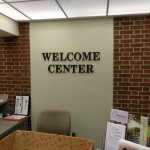 Welcome Center dimensional lettering lobby sign by JD Sign Co